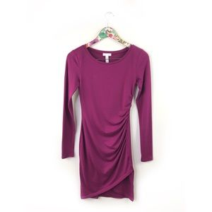 Leith Magenta Ruched Long Sleeve Dress